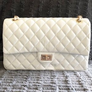 Quilted Handbag White/Gold